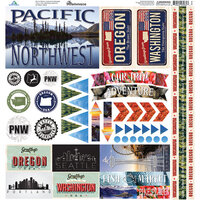 Reminisce - The Great Northwest Collection - 12 x 12 Cardstock Sticker Sheet