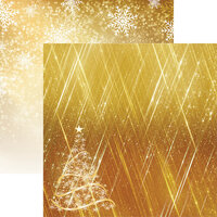 Reminisce - Gold Christmas Collection - 12 x12 Double Sided Paper - Oh Christmas Tree