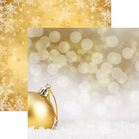 Reminisce - Gold Christmas Collection - 12 x 12 Double Sided Paper - Golden Ball