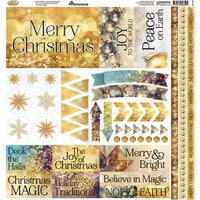 Reminisce - Gold Christmas Collection - 12 x 12 Cardstock Stickers - Elements