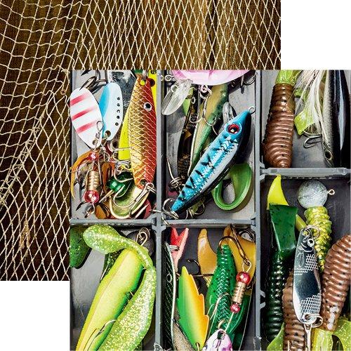 Reminisce - Gone Fishing Collection - 12 x 12 Double Sided Paper - Lures Galore