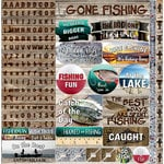 Reminisce - Gone Fishing Collection - 12 x 12 Cardstock Stickers - Alphabet