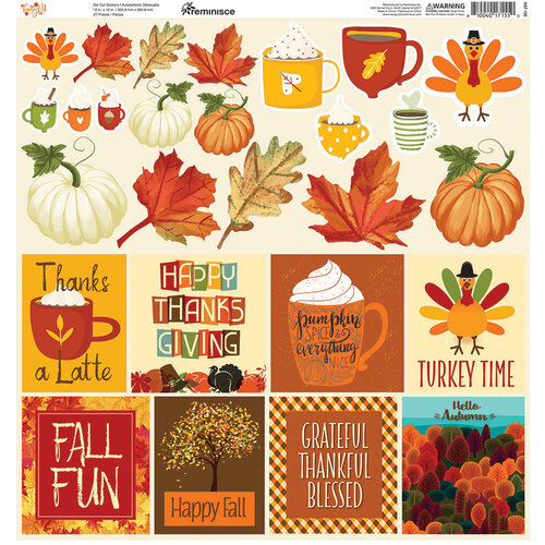 Reminisce - 12 x 12 Cardstock Stickers - Happy Fall