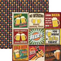 Reminisce - Happy Hour Collection - 12 x 12 Double Sided Paper - More Beer 2