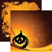 Ella and Viv Paper Company - Halloween Night Collection - 12 x 12 Double Sided Paper - Happy Pumpkin