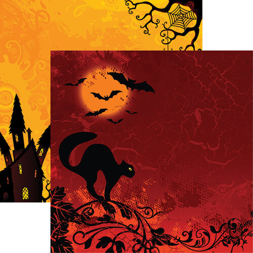 Ella and Viv Paper Company - Halloween Night Collection - 12 x 12 Double Sided Paper - Black Cat