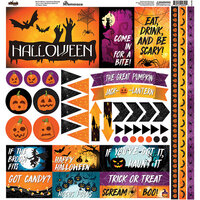 Ella and Viv Paper Company - Halloween Night Collection - 12 x 12 Cardstock Stickers - Elements