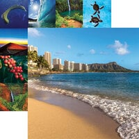Reminisce - Hawaii Collection - 12 x 12 Double Sided Paper - Waikiki and Diamond Head