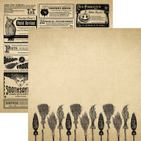 Reminisce - Hocus Pocus Collection - 12 x 12 Double Sided Paper - Broomstick