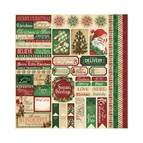Reminisce - Here Comes Santa Collection - Christmas - 12 x 12 Cardstock Stickers - Variety