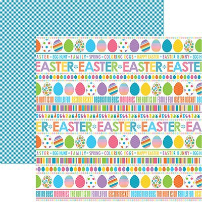 Reminisce - Happy Easter Collection - 12 x 12 Double Sided Paper - Easter Basket Stripe