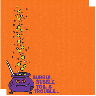 Reminisce - Halloween Party Collection - 12 x 12 Double Sided Paper - Bubble, Bubble, Toil and Trouble