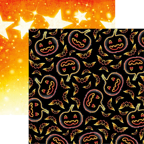 Reminisce - Halloween Party Collection - 12 x 12 Double Sided Paper - Neon Jacks and Bats