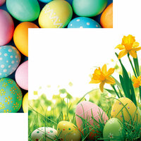 Reminisce - Hello Spring Collection - 12 x 12 Double Sided Paper - Happy Easter