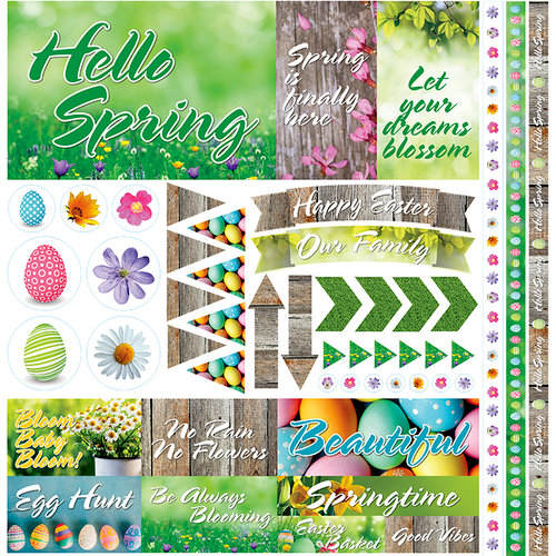 Reminisce - Hello Spring Collection - 12 x 12 Cardstock Stickers - Elements
