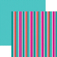 Reminisce - Hello Summer Collection - 12 x 12 Double Sided Paper - Beach Towel Stripe
