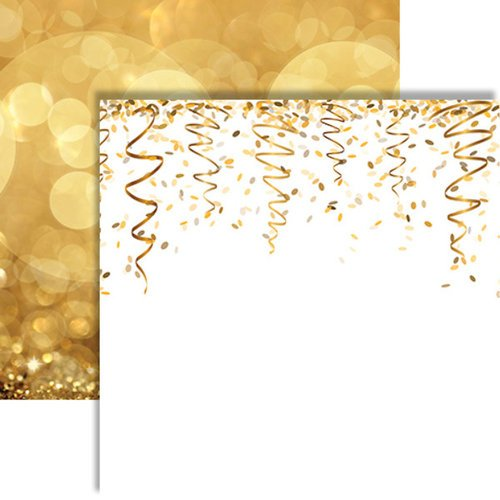 Reminisce - Its Party Time Collection - 12 x 12 Double Sided Paper - Glittering Gold