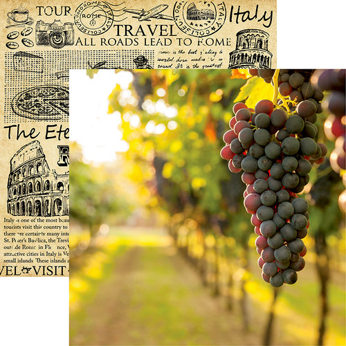Reminisce - Italy Collection - 12 x 12 Double Sided Paper - On the Vine