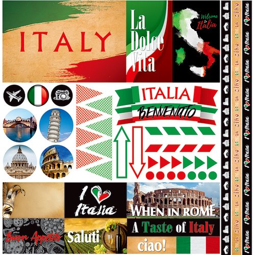Reminisce - Italia Collection - 12 x 12 Cardstock Stickers - Elements