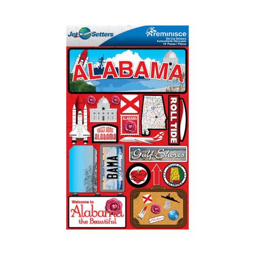 Reminisce - Jetsetters Collection - 3 Dimensional Die Cut Stickers - Alabama