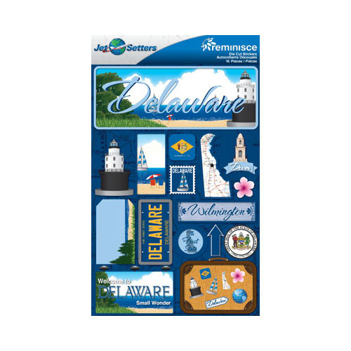 Reminisce - Jetsetters Collection - 3 Dimensional Die Cut Stickers - Delaware