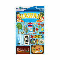 Reminisce - Jetsetters Collection - 3 Dimensional Die Cut Stickers - Hawaii