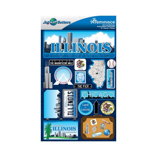 Reminisce - Jetsetters Collection - 3 Dimensional Die Cut Stickers - Illinois