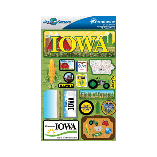 Reminisce jetsetters collection 3 dimensional die cut stickers iowa