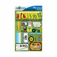 Reminisce - Jetsetters Collection - 3 Dimensional Die Cut Stickers - Iowa