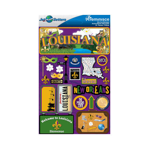 Reminisce - Jetsetters Collection - 3 Dimensional Die Cut Stickers - Louisiana