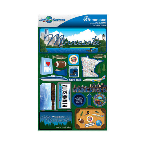 Reminisce jetsetters collection 3 dimensional die cut stickers minnesota
