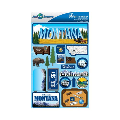 Reminisce - Jetsetters Collection - 3 Dimensional Die Cut Stickers - Montana