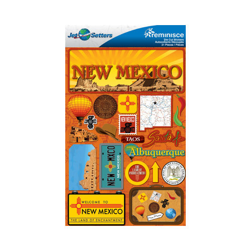Reminisce - Jetsetters Collection - 3 Dimensional Die Cut Stickers - New Mexico