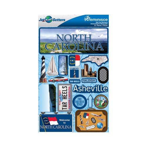Reminisce - Jetsetters Collection - 3 Dimensional Die Cut Stickers - North Carolina