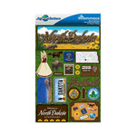Reminisce - Jetsetters Collection - 3 Dimensional Die Cut Stickers - North Dakota