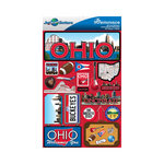 Reminisce - Jetsetters Collection - 3 Dimensional Die Cut Stickers - Ohio