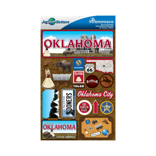 Reminisce jetsetters collection 3 dimensional die cut stickers oklahoma