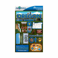 Reminisce - Jetsetters Collection - 3 Dimensional Die Cut Stickers - Oregon