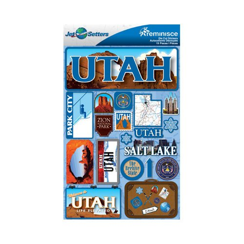Reminisce - Jetsetters Collection - 3 Dimensional Die Cut Stickers - Utah