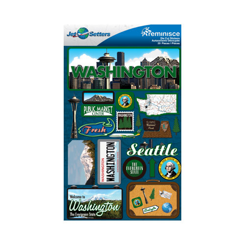 Reminisce - Jetsetters Collection - 3 Dimensional Die Cut Stickers - Washington