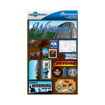 Reminisce - Jetsetters Collection - 3 Dimensional Die Cut Stickers - Wyoming