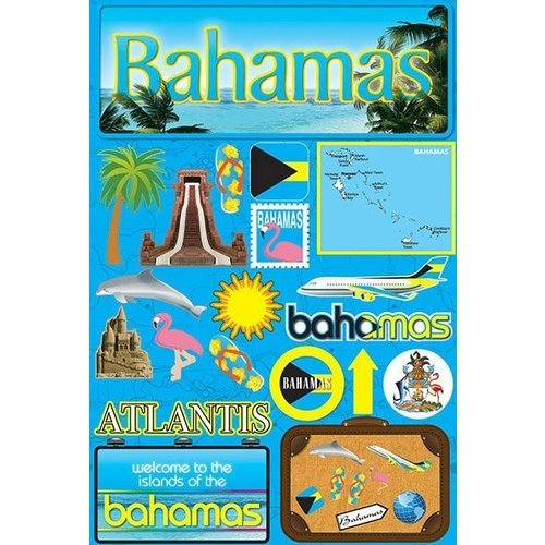 Reminisce - Jetsetters Collection - 3 Dimensional Die Cut Stickers - Bahamas