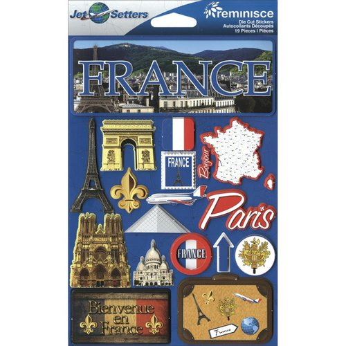 Reminisce - Jetsetters Collection - 3 Dimensional Die Cut Stickers - France