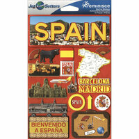 Reminisce - Jetsetters Collection - 3 Dimensional Die Cut Stickers - Spain