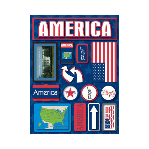Reminisce - Jetsetters Collection - 3 Dimensional Die Cut Stickers - America