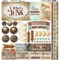 Ella and Viv Paper Company - Junkstock Collection - 12 x 12 Cardstock Stickers - Elements