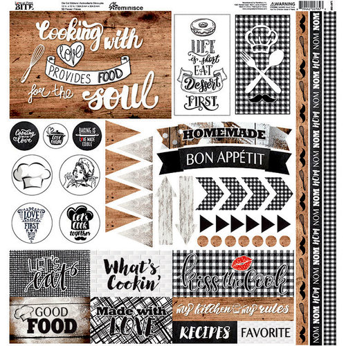 Reminisce - Love At First Bite Collection - 12 x 12 Cardstock Stickers - Elements