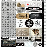 Reminisce - Love My Cat Collection - 12 x 12 Cardstock Stickers - Alphabet