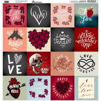 Reminisce - Love Forever Collection - 12 x 12 Cardstock Sticker Sheet - Square