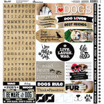 Reminisce - Love My Dog Collection - 12 x 12 Cardstock Stickers - Alphabet